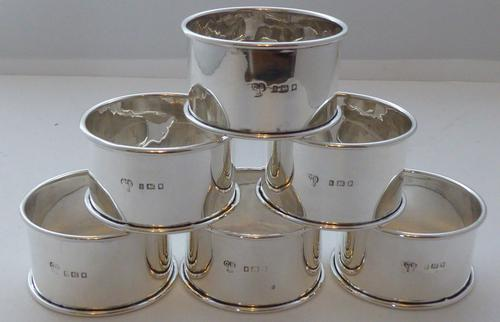 Boxed Set 6 1924 Hallmarked Solid Silver Napkin Rings Serviette Ring (1 of 6)