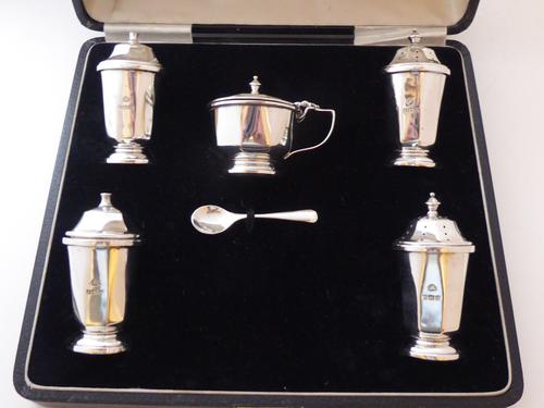 1937 Hallmarked Solid Silver 5 Piece Cruet Set Salt Pepper Mustard Shaker Pot (1 of 1)