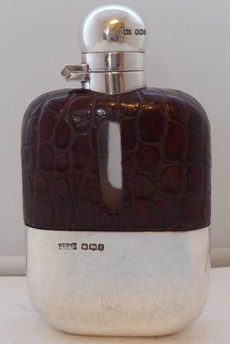 1924 James Dixon Solid Hallmarked Silver Crocodile Skin Bound Hip Flask (1 of 1)