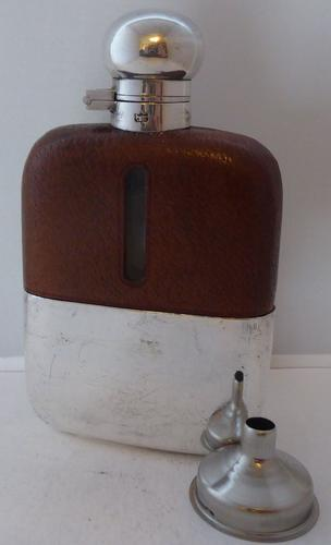 James Dixon 1930s Silver Plated Leather Bound Glass Hip Flask 3/16 Pint (1 of 1)