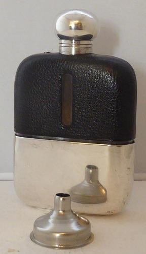 James Dixon 1930s Silver Plated Black Leather Bound Glass Hip Flask (1 of 1)