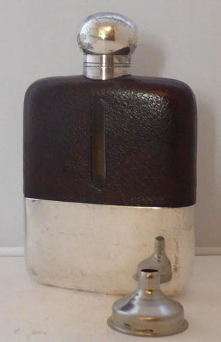 James Dixon 1930s Silver Plated Leather Bound Glass Hip Flask 1/4 Pint (1 of 1)