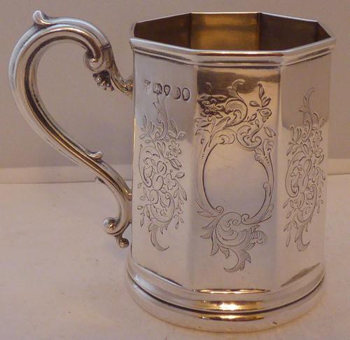 Victorian London 1839 Hallmarked Solid Silver Christening Mug Tankard (1 of 1)