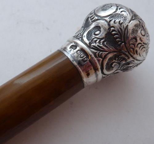 London 1913 Walking Stick Cane Hallmarked Solid Silver Pommel Malacca Shaft (1 of 1)