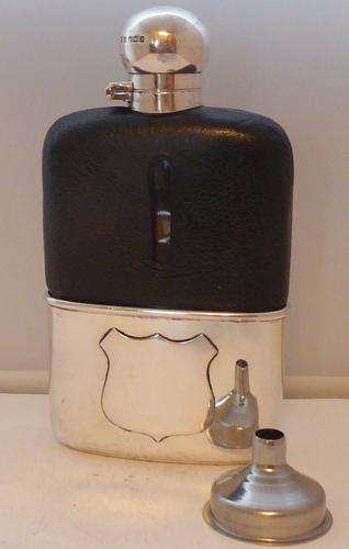 Sheffield 1907 Solid Hallmarked Silver Leather Bound Glass Hip Flask James Dixon (1 of 1)