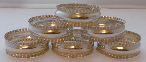 Boxed Set 6 Hallmarked Solid Silver Napkin Rings Serviette Ring London 1918 (1 of 1)