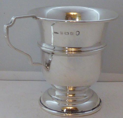 Hallmarked Solid Silver Christening Mug Tankard Birmingham 1935 (1 of 1)
