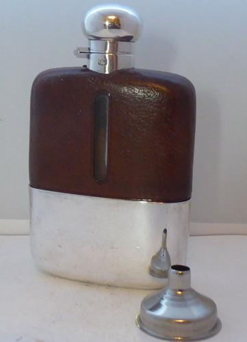 James Dixon 1930s Silver Plated Leather Bound Glass Hip Flask (1 of 1)