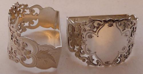 Victorian Boxed Pair Hallmarked 1896 Solid Silver Napkin Rings Serviette Ring (1 of 1)