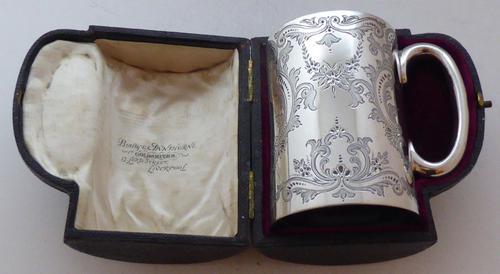 Boxed Victorian 1899 Hallmarked Solid Silver Christening Mug Tankard 243g (1 of 1)