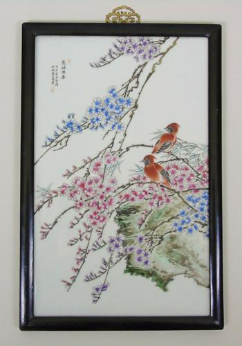 Antique Chinese Porcelain Plaque in Hardwood Frame Birds & Blossom (1 of 6)