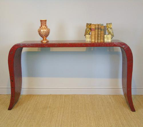 Antique Chinese Red Lacquer Console Table c.1920 (1 of 7)