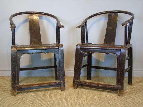 Good Pair of Chinese Horseshoe Armchairs c.1890 (1 of 5)
