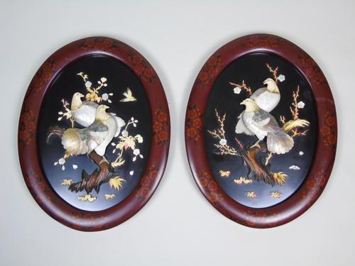 Good Pair of Japanese Shibayama Plaques Meiji (1 of 8)