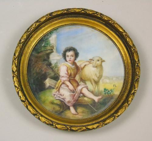 Painted Porcelain Plaque 19th Century St John the Baptist (1 of 5)