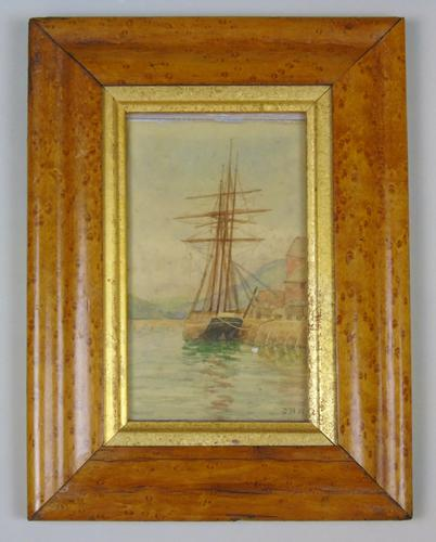 Antique Watercolour of Sailing Ship 19th Century Cornwall (1 of 5)