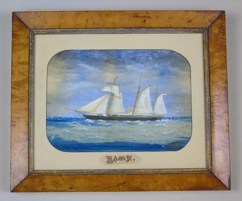 Antique Watercolour of Sailing Ship 'the Hawk' (1 of 6)