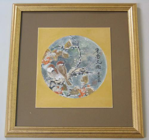 Antique Japanese Watercolour Painting Finches in Snow Yakata Ransui (1 of 5)