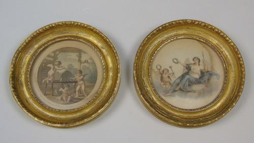 Antique Pair of Hand Coloured Engravings Bartolozzi (1 of 7)