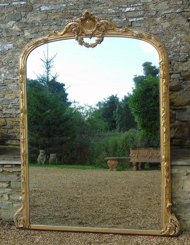 Grand 19th Century Arched Gilt Mirror Floor Standing (1 of 7)