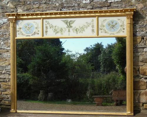 Fabulous Large Regency Overmantel Mirror Verre Eglomise (1 of 7)