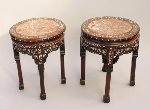 Pair of Antique Chinese Hardwood & Marble Tables / Stands Mother of Pearl Inlaid (1 of 1)