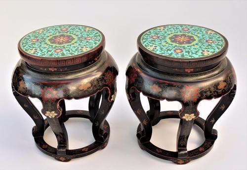 Stunning Pair of Antique Chinese Cloisonné Lacquer Tables (1 of 1)