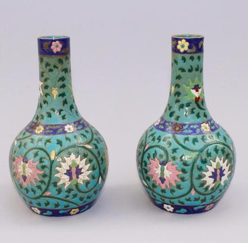 Pair of Chinese Enamelled Bottle Vases 19th Century (1 of 1)