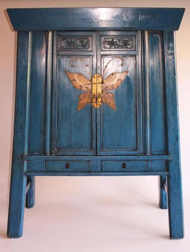 Antique Chinese Butterfly Cabinet Blue Lacquer c.1900 (1 of 1)