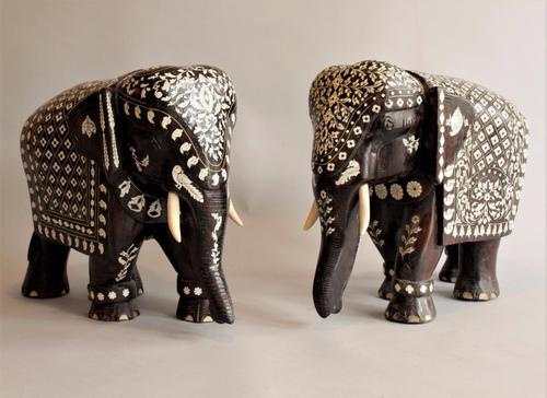 Imposing Pair of Inlaid Rosewood Indian Elephants (1 of 1)