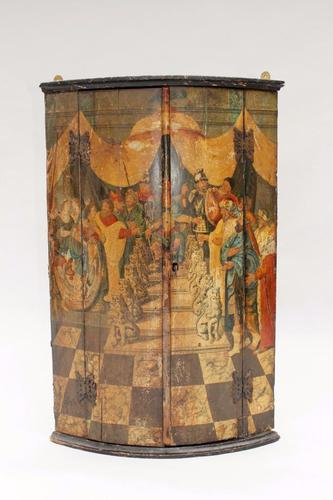 18th Century Polychrome Painted Hanging Corner Cabinet (1 of 1)