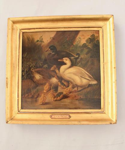 Charming Victorian Oil On Canvas Ducks & Ducklings (1 of 7)