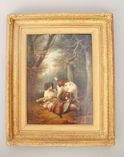 Hunting Dogs Scene Oil on Canvas J.Burras (1 of 1)
