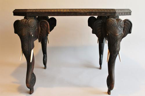 Anglo-Indian Carved Hardwood Elephant Table c.1880 (1 of 1)