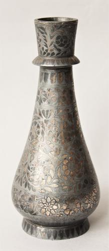Antique Indian Bidri Vase Silver Inlay (1 of 1)