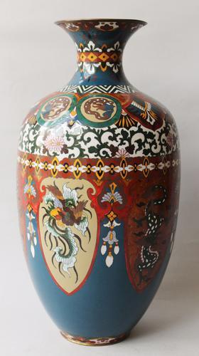 Very Large Antique Japanese Cloisonne Vase Dragon & Phoenix (1 of 1)