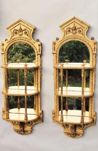 Antique Pair of Gilt & Gesso Wall Bracket Mirrors (1 of 1)