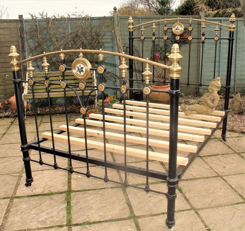 Victorian Cast Iron & Brass Double Bed (1 of 1)