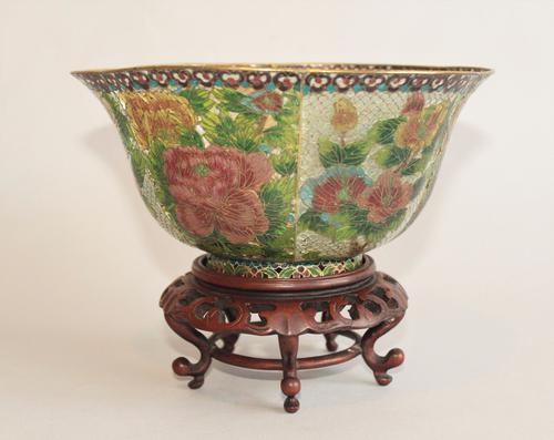 Japanese Plique a Jour Enamelled Bowl On Stand C.1920 (1 of 1)