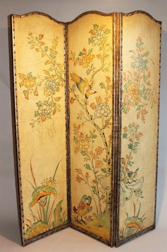 Antique Leather Three Panel Screen (1 of 1)