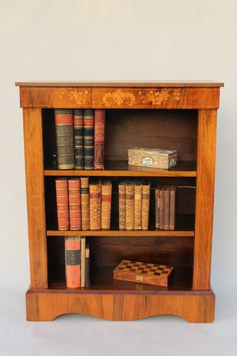 Antique Inlaid Victorian Walnut Bookcase (1 of 1)