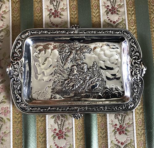Green Man Silver Card Tray c.1900 (1 of 5)