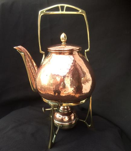Carl Deffner Copper & Brass Spirit Kettle C.1910 (1 of 1)