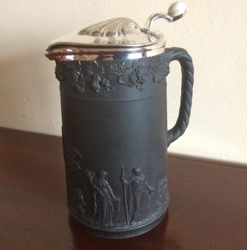 Victorian Wedgwood Black Basalt Jug 1887 (1 of 1)