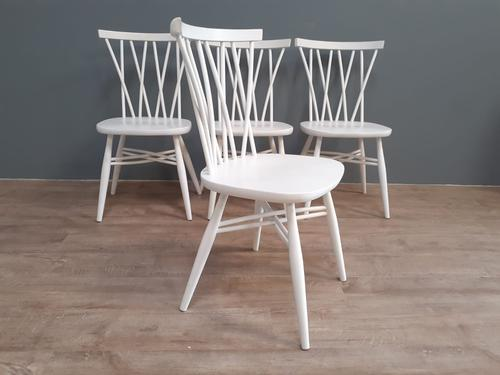 Set of 4 White Painted Candlestick Chairs by Ercol (1 of 7)