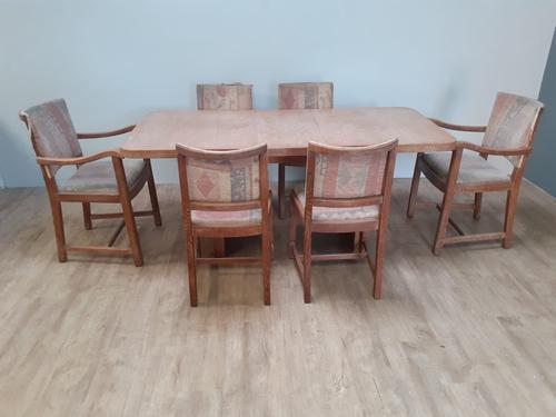 Limed Oak Extending Table & 6 Chairs by Heals c.1930 (1 of 9)