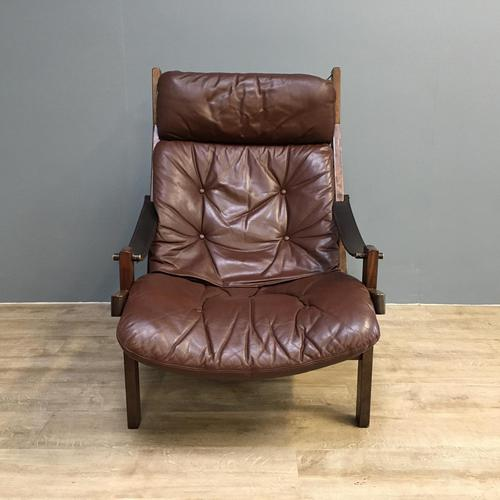 1960s Norweigan Leather & Hardwood 'Hunter' Armchair (1 of 8)