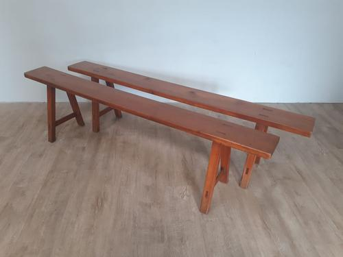 Pair of French Cherry Wood Benches c.1900 (1 of 7)
