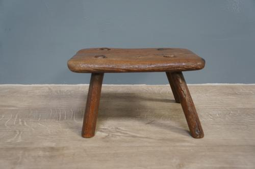 Nice Early Victorian Antique Ash & Elm Candle Stool (1 of 4)