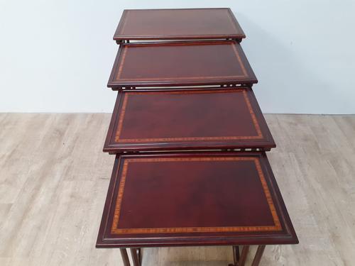Edwardian Nest of 4 Inlaid Mahogany Tables (1 of 5)